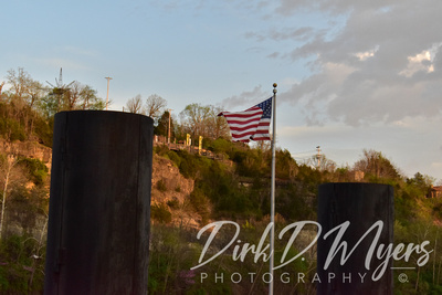 The Flag on The Branson Landing at the Fountain Show on Lake Taneycomo
